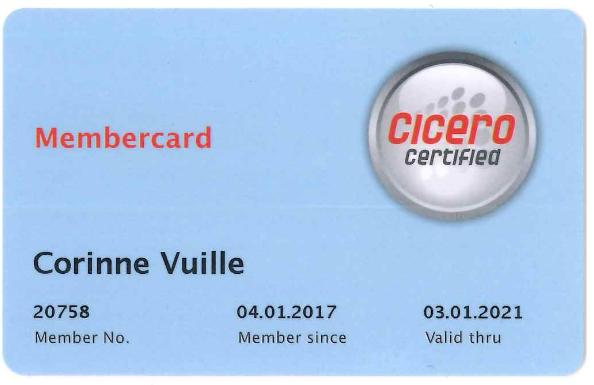 Carte de membre CICERO Corinne Vuille